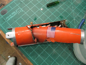 The damaged section of the booster...the part that ran into the upper half...