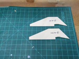2 of the new fins for the XR-9F design modification.